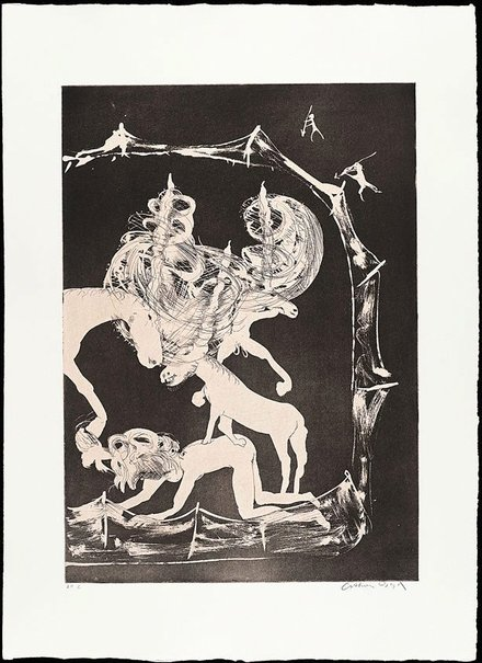 An image of The hunters trap the unicorn by Arthur Boyd