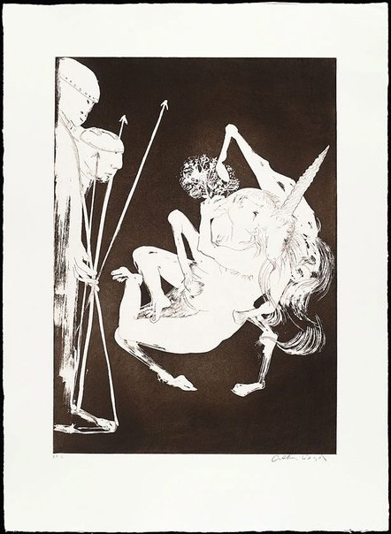 An image of The unicorn before the emperor I by Arthur Boyd
