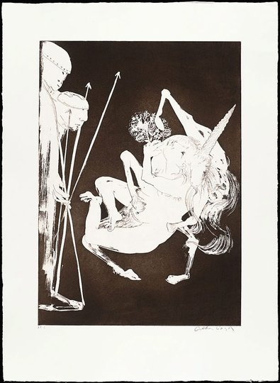 AGNSW collection Arthur Boyd The unicorn before the emperor I (1973-1974) 13.1989.16