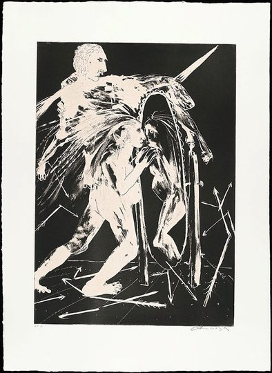 AGNSW collection Arthur Boyd The unicorn before the emperor II (1973-1974) 13.1989.17