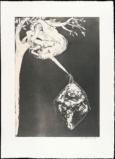 An image of (Illustration for Peter Porter's poem 'The unicorn's prison song') by Arthur Boyd