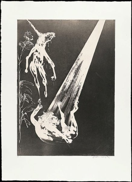 An image of The unicorn and the angel by Arthur Boyd