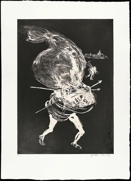 An image of (Illustration 1 for Peter Porter's poem 'Death of the unicorn') by Arthur Boyd
