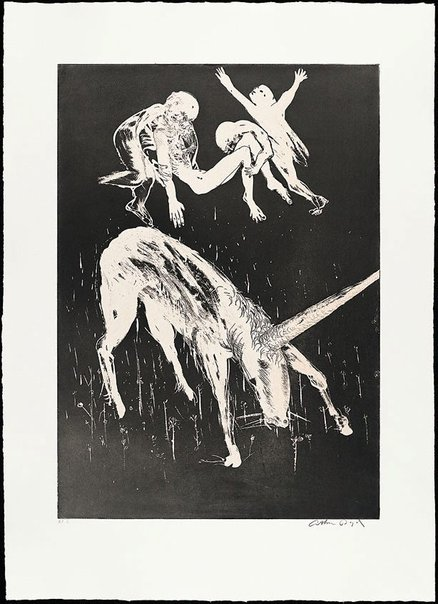An image of Death of the unicorn II by Arthur Boyd