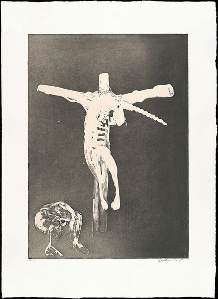 An image of Christ names His cross for the unicorn by Arthur Boyd