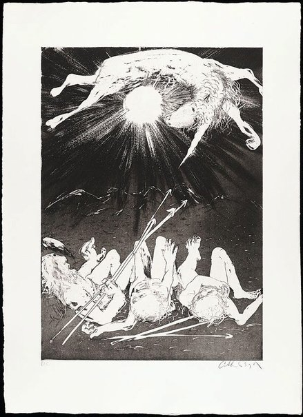 An image of The hunters set out to trap the unicorn II by Arthur Boyd