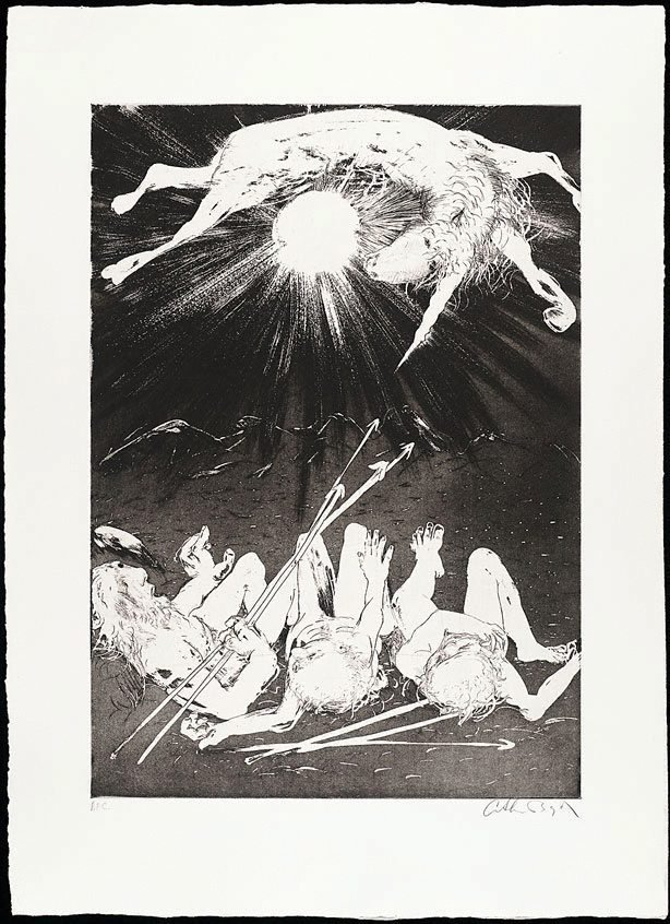 The hunters set out to trap the unicorn II, (1973-1974), The Lady and the Unicorn by Arthur Boyd