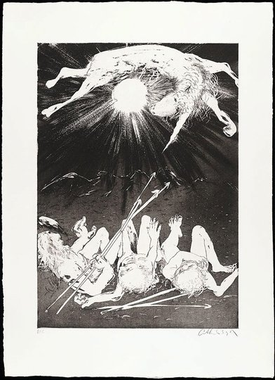 AGNSW collection Arthur Boyd The hunters set out to trap the unicorn II (1973-1974) 13.1989.9