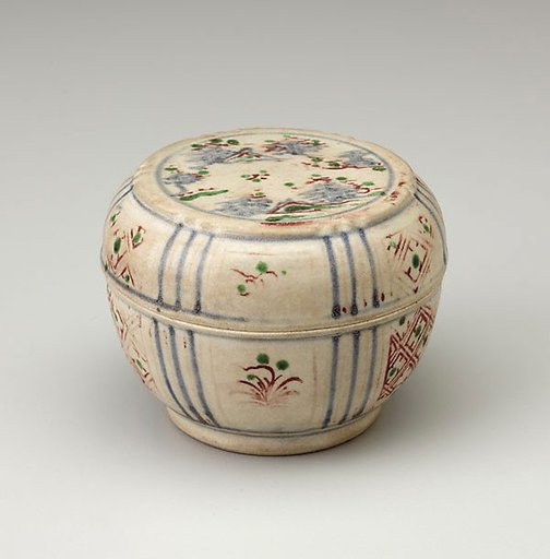 An image of Covered box of round form by