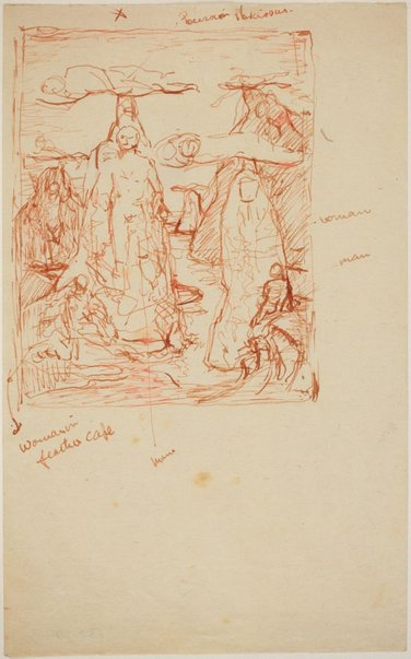 An image of Studies for 'Captives in a threatening landscape' (2 versions) (Compositional study) by James Gleeson