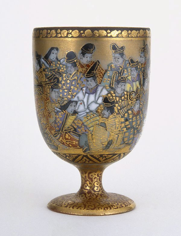 An image of Stem cup with design of 36 Immortal Poets