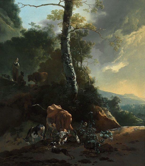 An image of Landscape with enraged ox