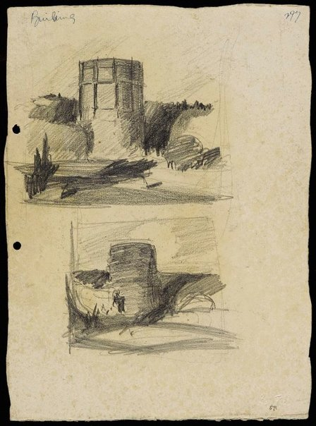 An image of recto: Gas tank, Waverton [top] and Sketch of gas tank [bottom] verso: 3 compositional sketches by Lloyd Rees