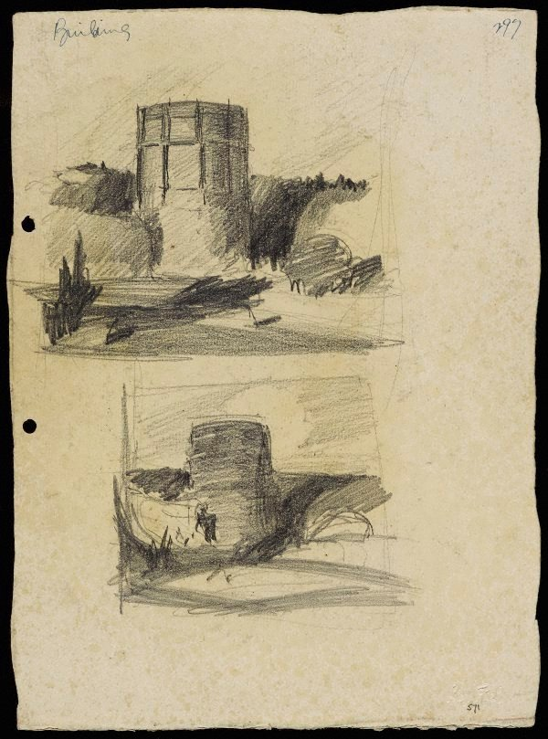 An image of recto: Gas tank, Waverton [top] and Sketch of gas tank [bottom] verso: 3 compositional sketches