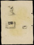 Alternate image of recto: Gas tank, Waverton [top] and Sketch of gas tank [bottom] verso: 3 compositional sketches by Lloyd Rees