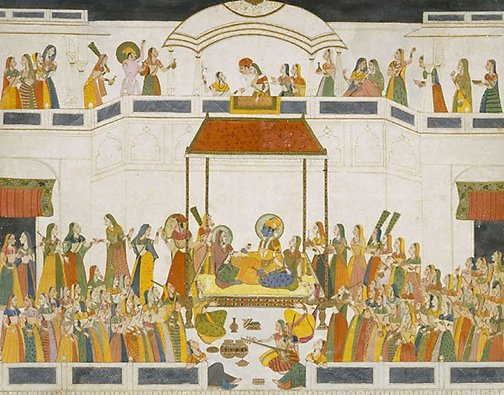 An image of Raja Savant Singh with courtesan by School of Kishangarh, after Nihal Chand