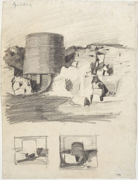 An image of Gas tank, Waverton [top] and 2 Gas tank compositions [bottom] by Lloyd Rees