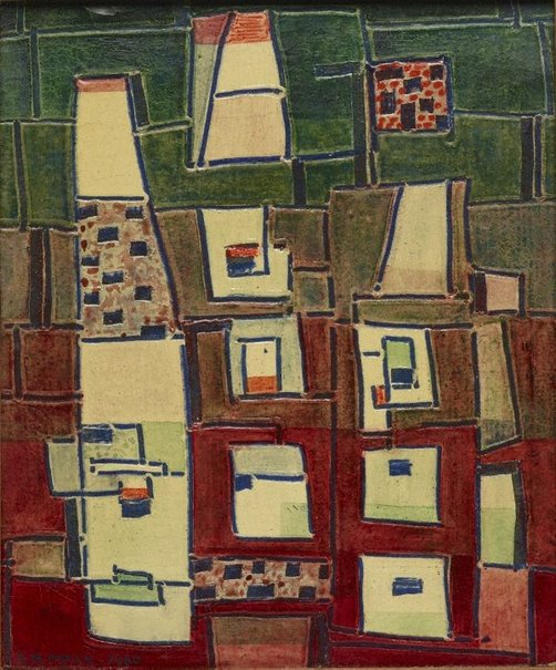 An image of Red and green abstract by Ludwig Hirschfeld-Mack