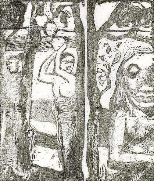 An image of Woman gathering fruit and the savage by Paul Gauguin