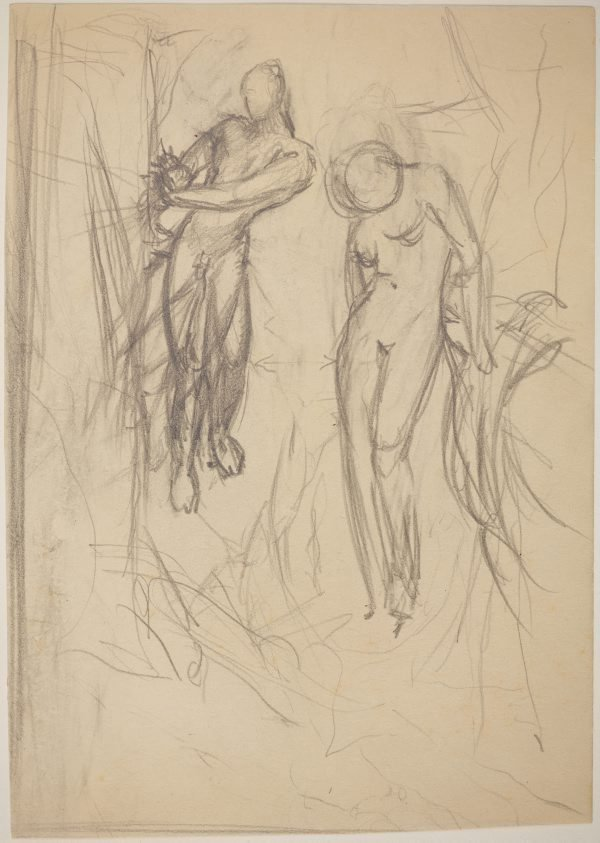 An image of Studies for 'Captives in a threatening landscape' (2 versions) (Compositional study - main male and female figures)