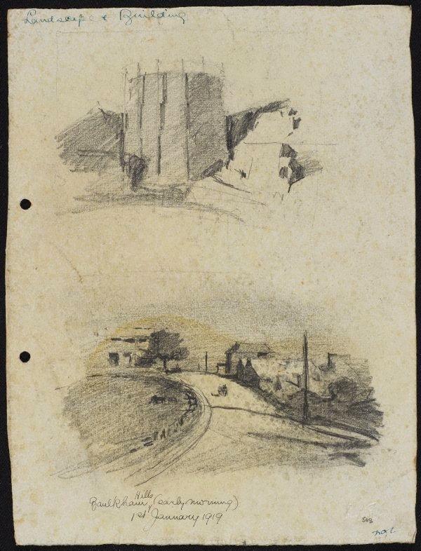 An image of recto: Home, Baulkham Hills verso: Gas tank, Wollstonecraft Bay and Baulkham Hills, early morning