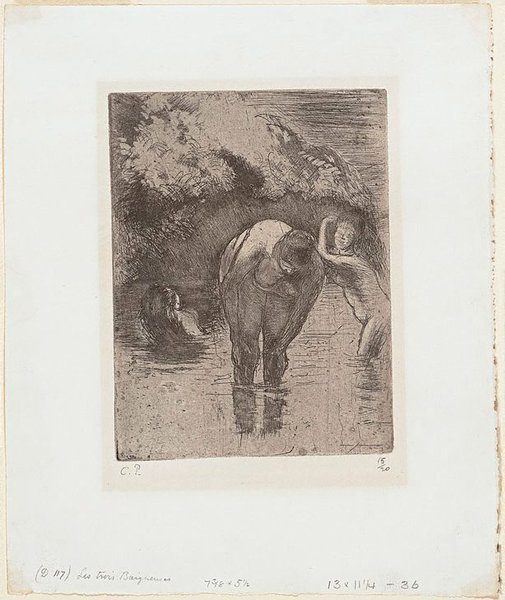 An image of Three women bathing by Camille Pissarro