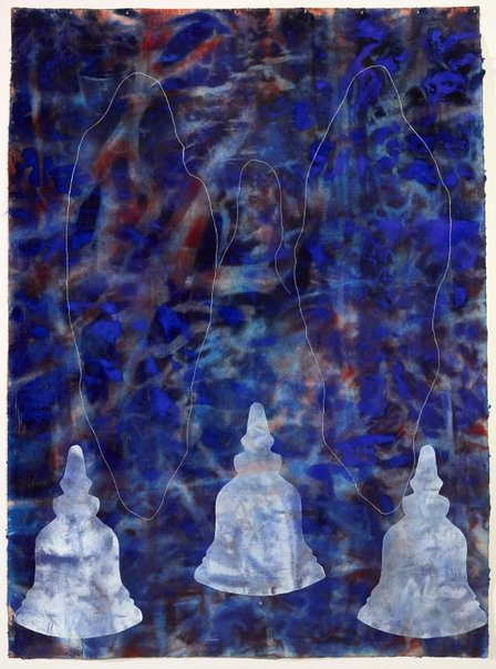 An image of big blue world with three stupas by Judy Watson
