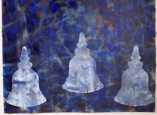 Alternate image of big blue world with three stupas by Judy Watson