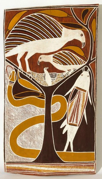 An image of Dhämala Story (sea eagle, catfish and king brown snake) by Dr David Malangi