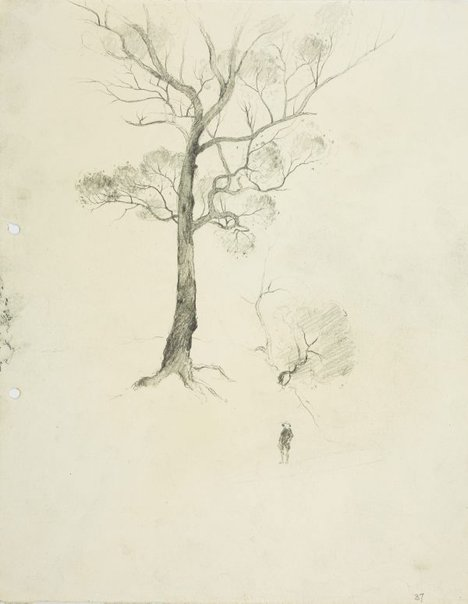 An image of Tree and figure by Lloyd Rees