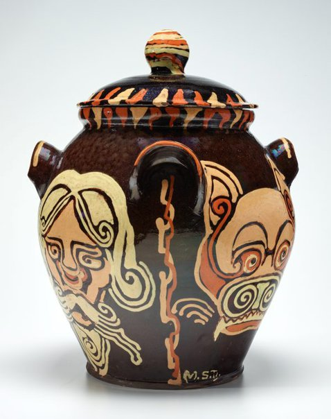 An image of Jar with anthropomorphic design by Anne Dangar