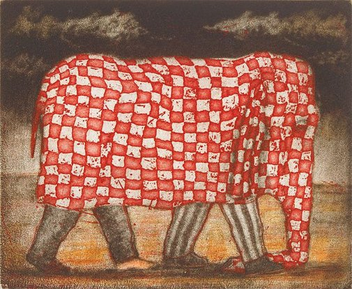An image of Elephant gingham by Geoffrey Ricardo