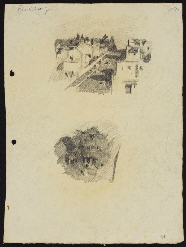An image of recto: Street of houses [top] and Trees [bottom] verso: Landscape with water [top] and Road under railway line [bottom]