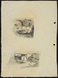 Alternate image of recto: Street of houses [top] and Trees [bottom] verso: Landscape with water [top] and Road under railway line [bottom] by Lloyd Rees