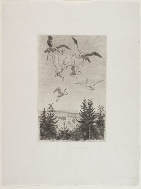 An image of The ecstasy of flight II by Hans Thoma