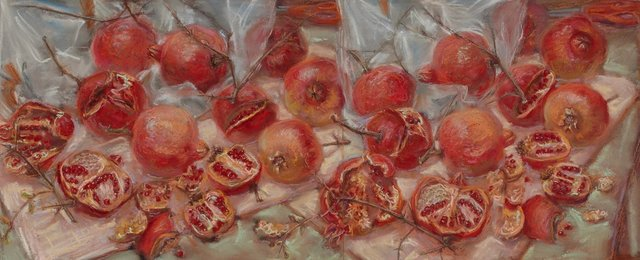 An image of Scribble rock pomegranates (diptych)