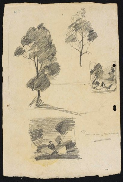 An image of recto: Eucalypts and Summer evening (2 studies) verso: Harbour sketch [top] and Three arched building, Sydney Harbour [bottom] by Lloyd Rees