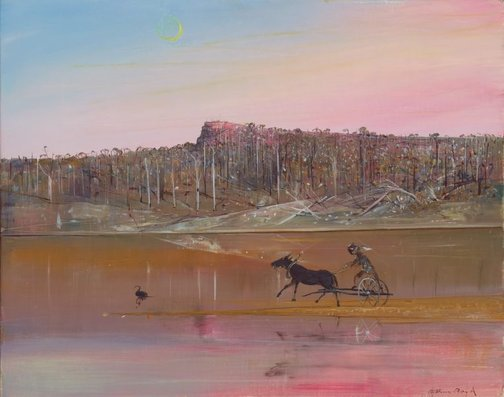An image of Jinker on a sand bank with moon by Arthur Boyd