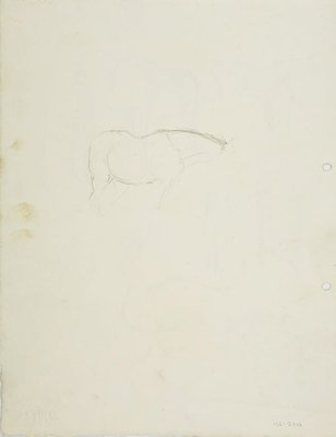Alternate image of recto: Horse studies verso: Sketch of horse by Lloyd Rees