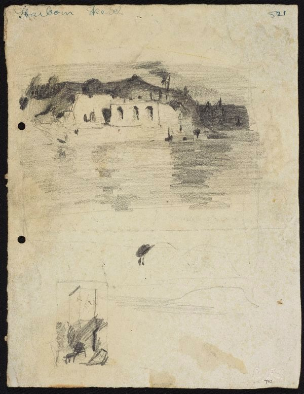 An image of A building with three arches, Sydney Harbour [top] and Sketch of a tower [bottom]