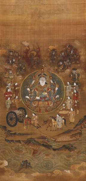 An image of Uga Benzaiten and her fifteen attendants ('dōji') by