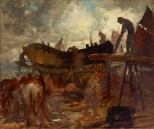 An image of Boat building, Etaples by Rupert Bunny