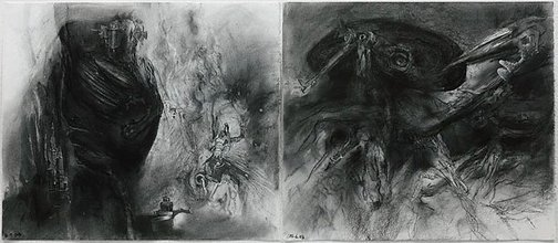 An image of Study for 'The Ubu diptych: Ubu regnant and The senior mandarin' by James Gleeson