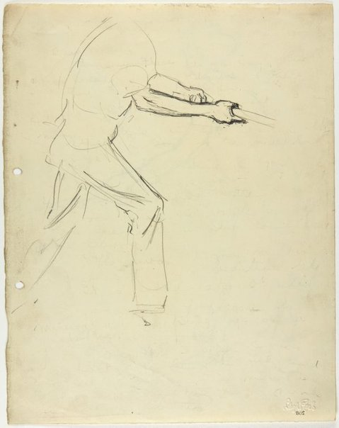 An image of recto: Male figure swinging a bat verso: Female figure swinging a bat by Lloyd Rees