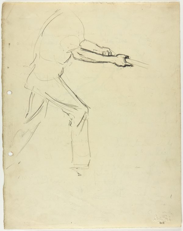 An image of recto: Male figure swinging a bat verso: Female figure swinging a bat