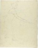 Alternate image of recto: Male figure swinging a bat verso: Female figure swinging a bat by Lloyd Rees