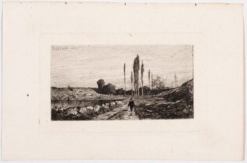 An image of Footpath next to a pond by Adolphe Appian