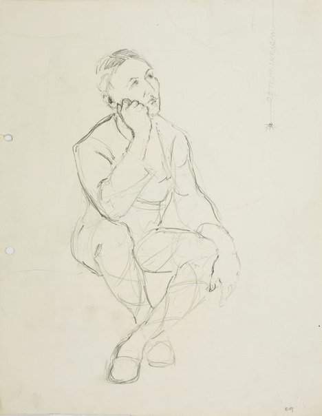 An image of recto: Seated male figure contemplating a spider verso: Don Quixote and a windmill by Lloyd Rees