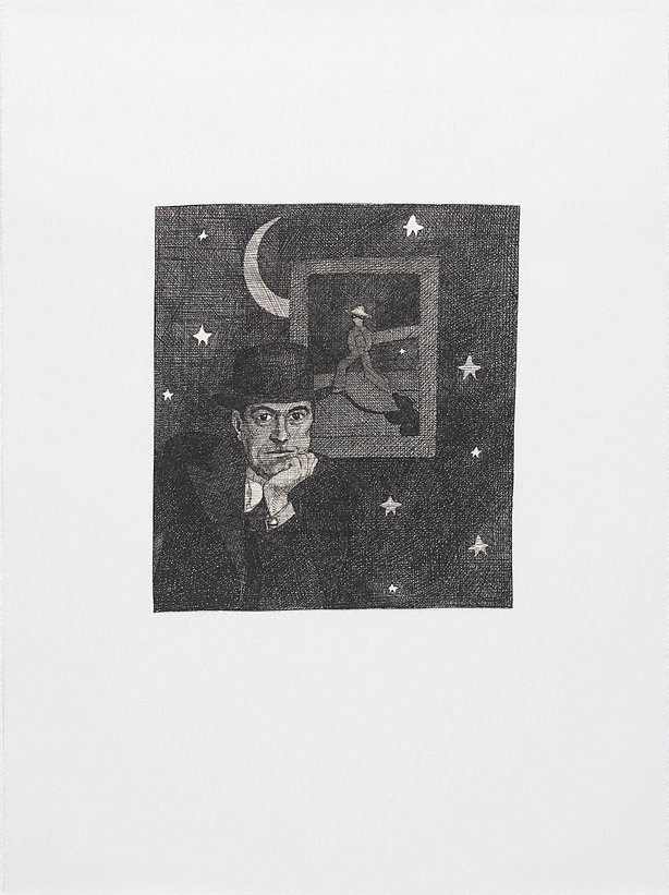 An image of The arrival of Rene Magritte at last