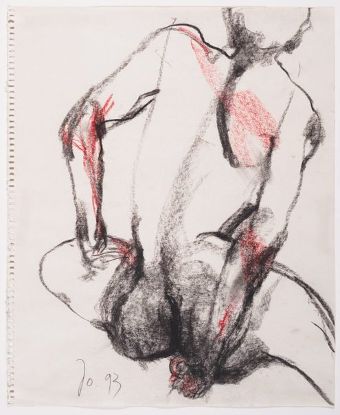 An image of Seated female nude, back view by John Olsen